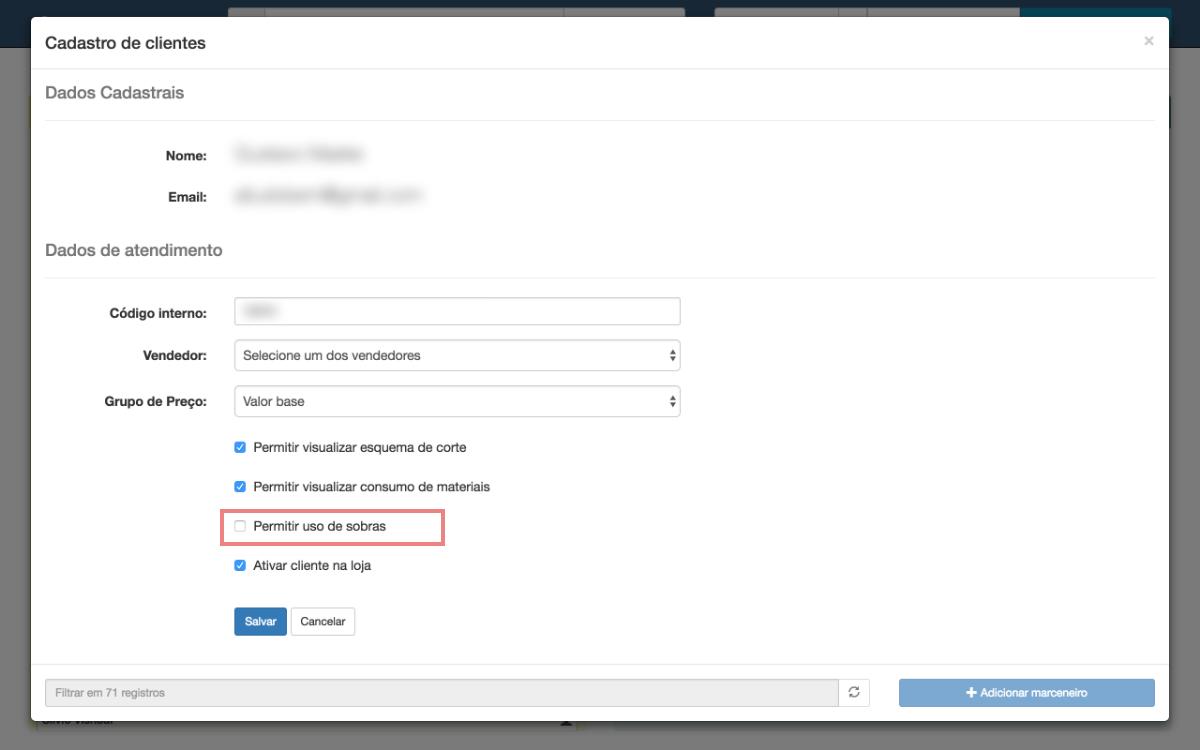 Edição de cliente com destaque na configuração de sobras