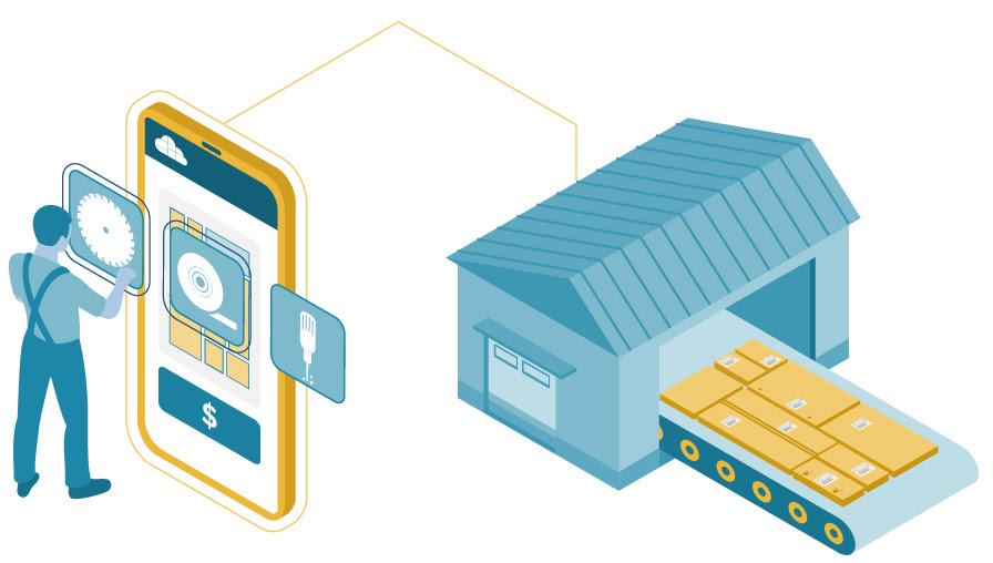 Ilustração mobile esteira produção na central