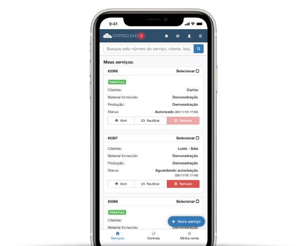 Tela do aplicativo mobile no celular