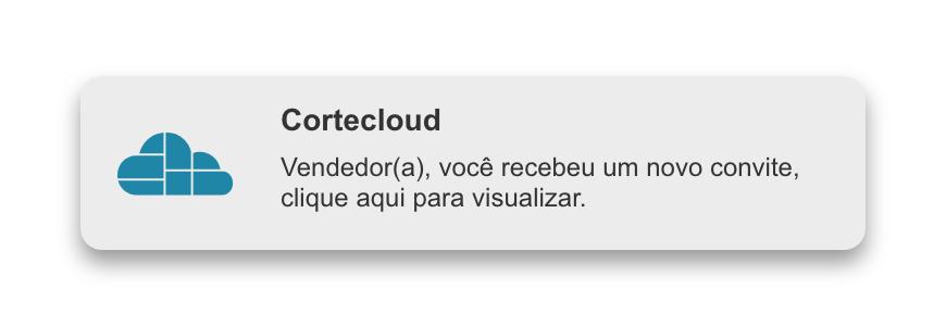 Exemplo de notificação in-app Cortecloud