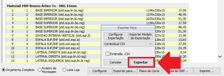 Janela orçamento com foco no botão de exportação do serviço