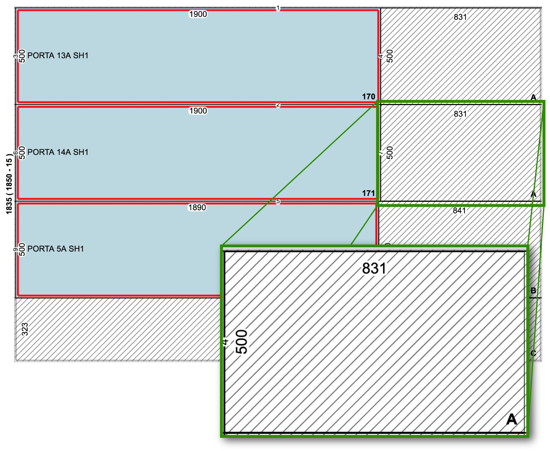 Representação do plano de corte com destaque no tamanho da sobra
