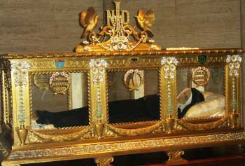 St Bernadette in glass coffin