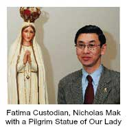 Nicholas Mak with a Pilgrim Statue of Our Lady