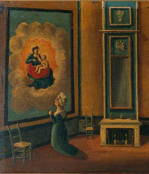 Painting - women kneeling in prayer before an image of Our Lady