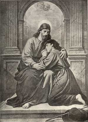Image of Christ embracing a man on his knees.