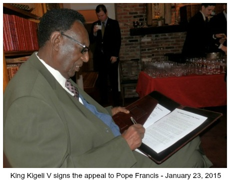 King Kigeli V signing the Appeal to Pope Francis
