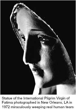 Statue of the International Pilgrim Virgin of Fatima photographed in New Orleans, LA in 1972 miraculously weeping real human tears
