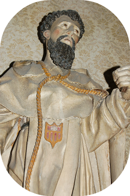Statue of Friar Armengol with a rope around his neck