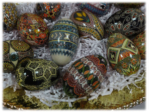 Several pysanky eggs