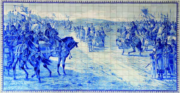 Blue and white tile image of Battle