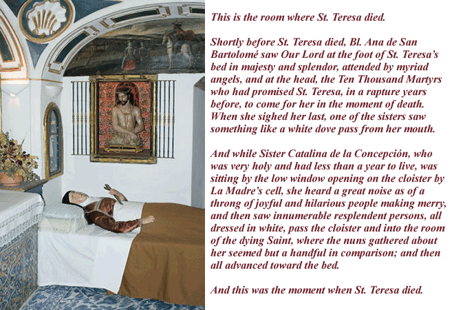 Room where St Teresa died