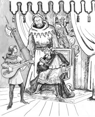 Offero playing his lute for the king