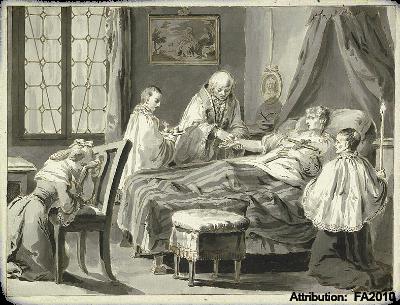 St John Bosco at Charles' death bed