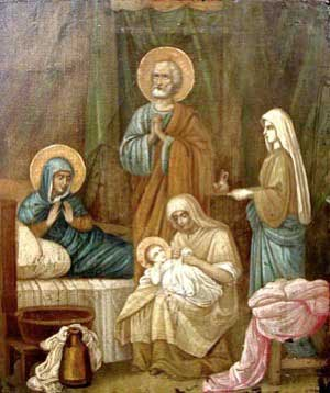 Painting of the Nativity of Our Lady. St. Ann and St. Joachim have their hands folded in prayers of thanksgiving