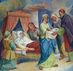 Painting of the Nativity or Mary. The infant Mary is handed to St. Joachim