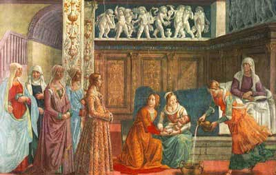 Painting of the Nativity of Mary. Women admire the infant Mary