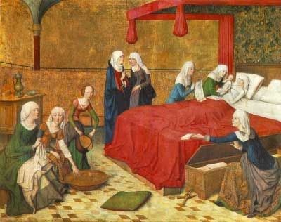 Painting of the Nativity of Mary. Someone hands St. Ann the infant Mary