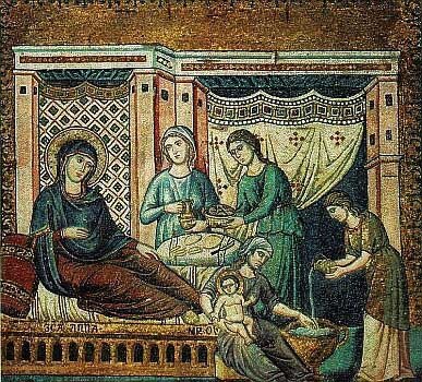 Tapestry of the Nativity of Our Lady. Someone bathes the Infant Mary while others bring St. Ann food