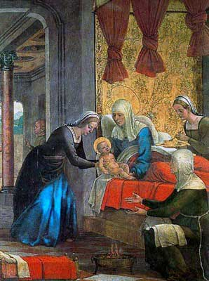 Painting of the Nativity of Our Lady. Someone hands St. Ann Mary