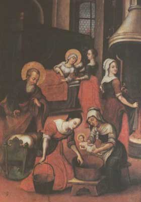 Painting of the Nativity of Our Lady. St. Joachim watches as the infant Mary is bathed