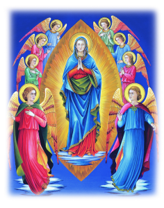 Painting of Our Lady surrounded by angels