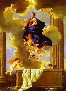 Painting of Our Lady floating in a cloud above her tomb