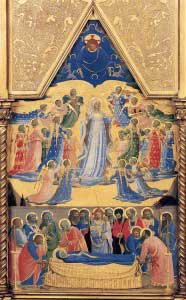 Painting of Our Lady honored by the angels and saints in heaven, and mourned by the apostles on earth