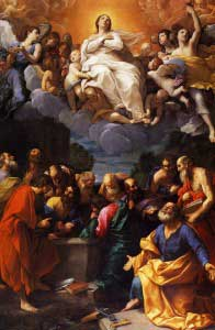 Painting of Our Lady being assumed into heaven surrounded by angels with the apostles below