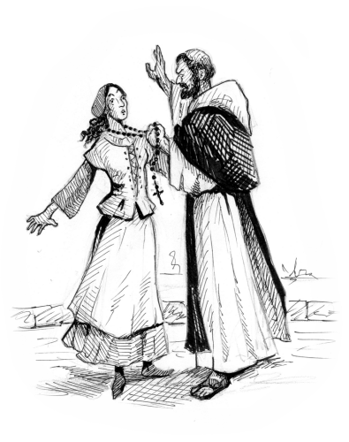 Priest and possessed girl - drawing