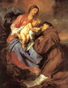 Our Lady is holding the infant Jesus, who is leaning to touch Saint Anthony's face. Saint Anthony kneels before them.