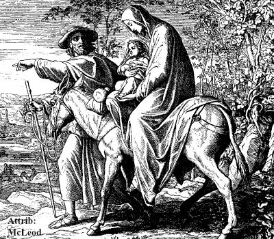 Image of the Flight into Egypt. Our lady is on the back of a donkey, holding baby Jesus, while Saint Joseph leads them.