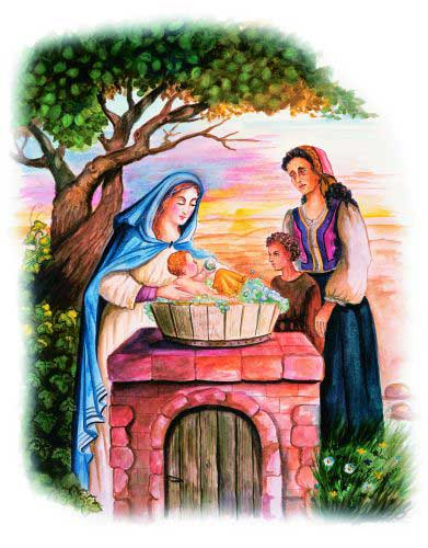 Our Lady bathes the baby Jesus while young Dismas and his mother watch
