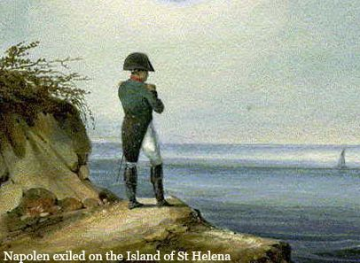 Napoleon exiled on the island of St Helen