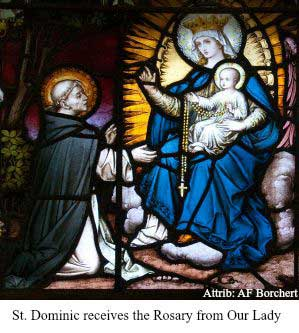 St Dominic receives the Rosary from Our Lady