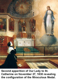 Second apparition of Our Lady to St. Catherine on November 27th, 1830 revealing the configuration of the Miraculous Medal.