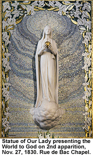 Statue of Our Lady presenting the world to God on 2nd apparition, November 27, 1830, Rue de Bac Chapel