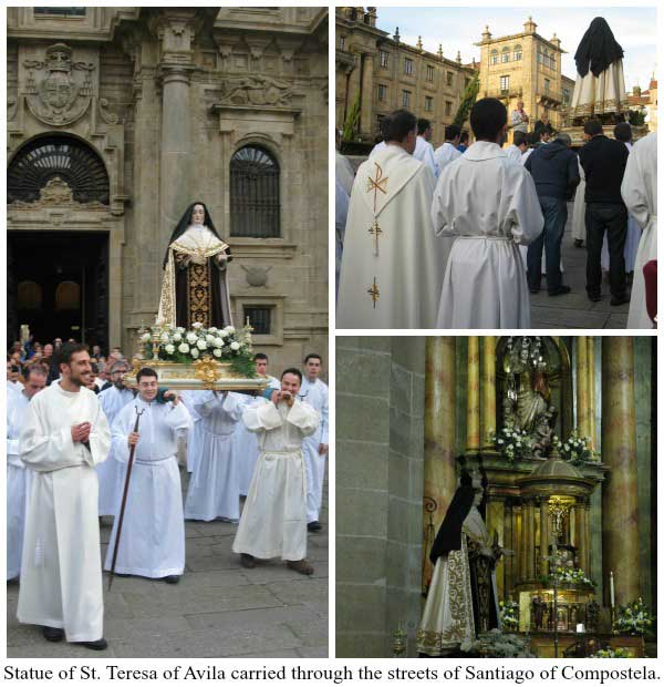 Statue of Saint Teresa of Avila carried through the streets of Santiago of Compostela
