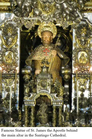 Famous statue of Saint James the Apostle behind the main altar in the Santiago Cathedral
