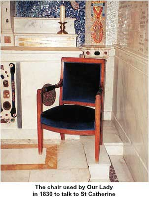 Chair used by Our Lady to talk to St Catherine