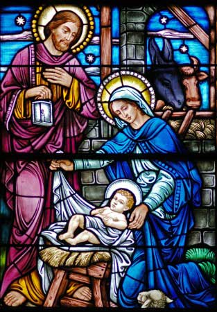 Holy Grotto of Bethlehem Stained Glass Nativity