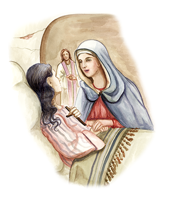 Our Lady reassures Lillian of the truth of the faith. Lillian embraces the cross.