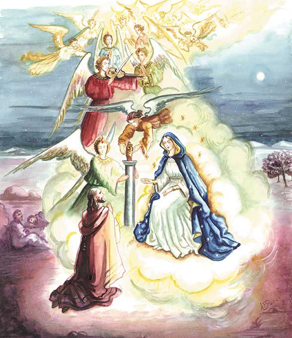 The angels singing and carrying the Blessed Mother to Saragossa on clouds, and presenting the statue and pillar to Saint James