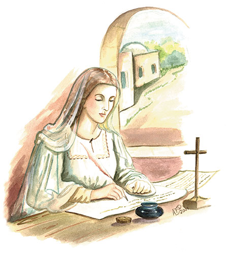 Our Lady, writing out copies of the Apostles Creed