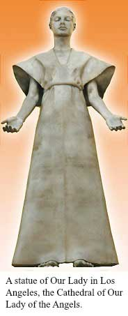 A statue of Our Lady in Los Angeles, the Cathedral of Our Lady of the Angels.