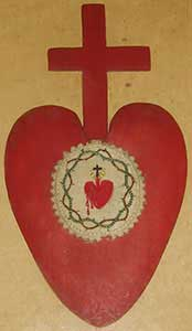 badge - Red heart and cross, with the sacred heart surrounded by a crown of thorns in the center