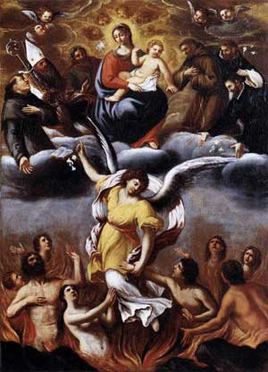 Angel leading people our of purgatory