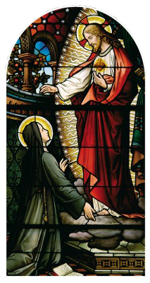 Stained glass of Our Lord revealing His Sacred Heart to St. Margaret Mary Alocoque