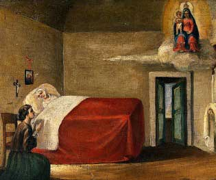 Praying to the Blessed Virgin Mary for a dying person. Our Lady appears to be in the upper corner of the room, holding the Child Jesus