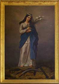 St. Philomena, standing and holding lilies. At her feet are an anchor, arrows, whips, and a sword.